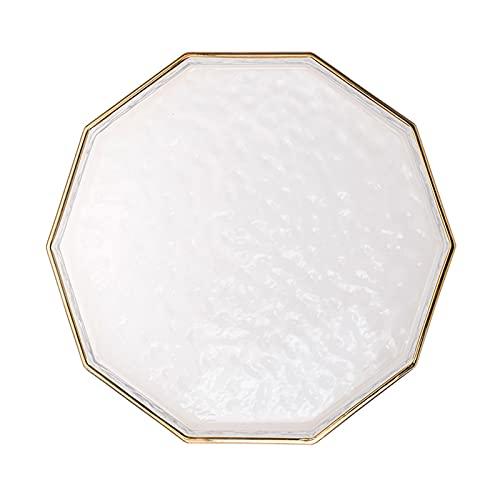 WPJ Pantalla Decorativa Baño Bandeja de vanidad Tray Bandeja de Cristal Joyería Bandeja Organizador para vanidad, baño, tocador, Oro (Size : Large)