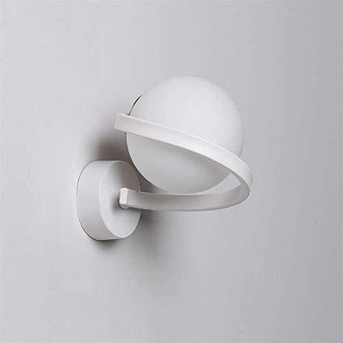 Aplique de pared industrial LED, Moderno interior de la pared de la iluminación de la pared SCONCE 7W LED Maquillaje Espejo Vanity Lights Blanco Matte Matte Bola de vidrio Shaded Hardwired Dormitorio