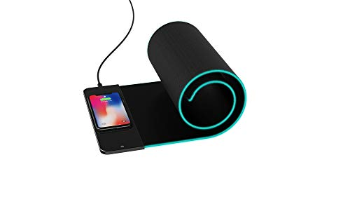 PowEver Wireless Mouse Pad Charger, Qi Wireless Fast Charging 5W/7.5W/10W Mouse Mat with LED Light Indicator Extended Large Professional RGB Gaming Keyboard Mat for iPhone, Samsung and More