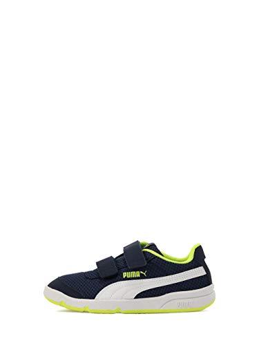 Puma Stepfleex 2 Mesh Ve V PS, Scarpe da Ginnastica Unisex-Bambini, Peacoat Avviso Bianco/Giallo, 35 EU