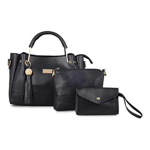 Mimisku handbag set with handbag, sling bag and wallet (Black)