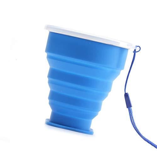 Bicchiere da viaggio pieghevole in silicone blu, adatto per casa, escursionismo, campeggio, picnic