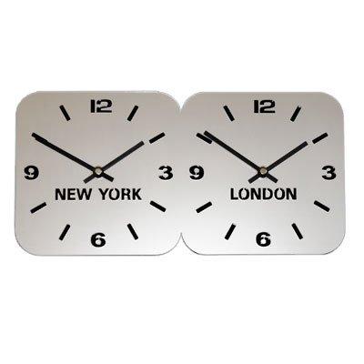 Large Horloge Acrylique Fuseaux Horaires Argent (H24.5cm x L49cm Double Horizontale)