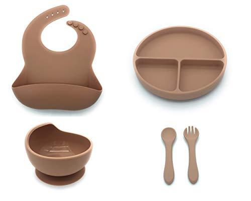 Set de vajilla de silicona para bebes. Conjunto de Babero, Cuenco, Cubiertos y Plato antideslizantes perfectos para alimentacion de bebes (Rosa)