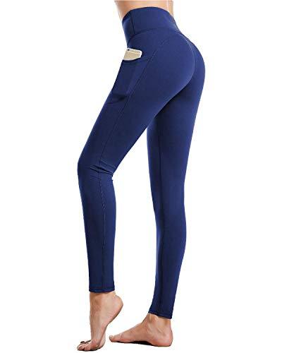 CAMBIVO Leggings Damen, Yogahose Laufhose Sporthose Tights lang, Leggins mit Handytasche, High Waist, Blickdicht für Sport, Fitness, Yoga, Training, täglichen Gebrauch (Blau, S)