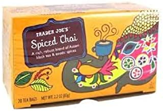 Trader Joe's Spiced Chai A Rich, Robust Blend of Assam Black Tea & Exotic Spices 2.2 oz 20 Tea Bags (PACK OF 4)
