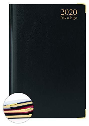 Agenda 2020, formato A5, con copertina rigida imbottita, con bordi dorati, per ufficio, casa, colore nero