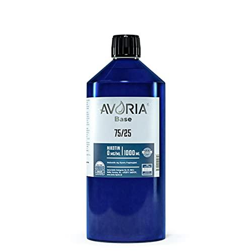 AVORIA – Liquid Base 75/25 zur Herstellung von eigenen Liquids für E-Zigaretten, Vaper und Dampfer | Basis - Made in Germany | Basen ohne Nikotin (1 x 1000 ml)