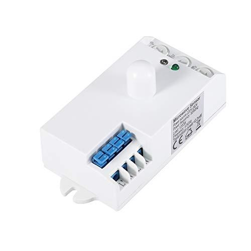Interruptor de Sensor de microondas, Radar CW de 5,8 GHz, reconocimiento automático, Detector de Sensor de Movimiento Disponible, Fabricado en PVC (Blanco)
