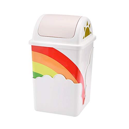 Cubo de Basura Nube del Arco Iris de la Basura Puede desprenderse de la Tapa Creativa Cubo de Basura del hogar Salón Dormitorio WC Cuba de Almacenamiento de Basura Basurero (Color : Pink)