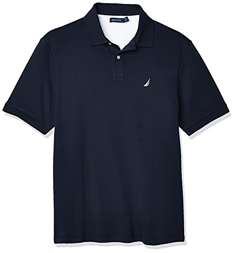Nautica Men's Classic Fit Short Sleeve Solid Soft Cotton Polo Shirt, Navy, X-Large