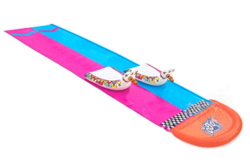 Bestway H2OGO! 2er-Wasserrutsche mit aufblasbaren Lama-Schwimmtieren, 488 cm