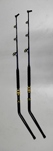Xcaliber Marine Pair (2) Offshore Series 130lb Saltwater Deep Drop Swivel Tip Trolling Rod (Blue & Silver)