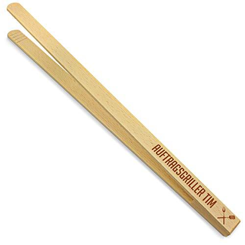 printplanet® - Holz Grillzange mit Auftragsgriller Tim - graviert - Gravierte Holzgrillzange mit Namen - 40 cm Länge