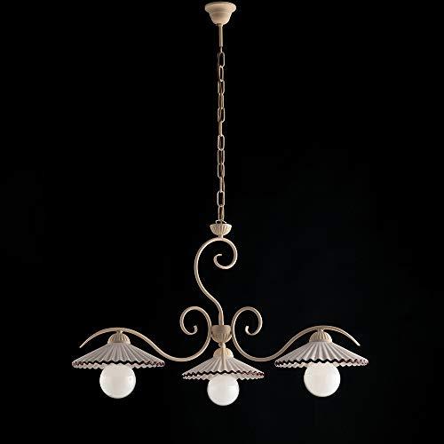 Lámpara clásica de hierro lacado decoración Decape difusores Ceramcia Lybra 3 luces