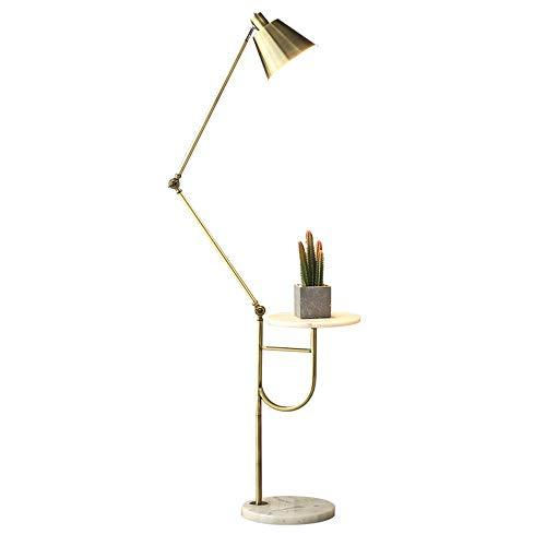 FWZJ Lámpara de pie de Metal, luz de pie con Bandeja de Mesa de Centro Lámpara de Lectura LED Lámpara de pie Ajustable Base de mármol Luz Alta para Sala de Estar, dormitorios y Oficina E27 9W Ilu
