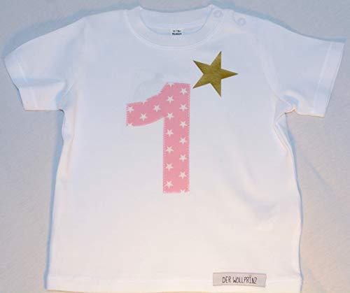 Der Wollprinz Geburtstag T-shirt für Kinder mit Zahl, Kindershirt mit Zahl 1 T-Shirt mit Zahl 1 in weiss mit rosa