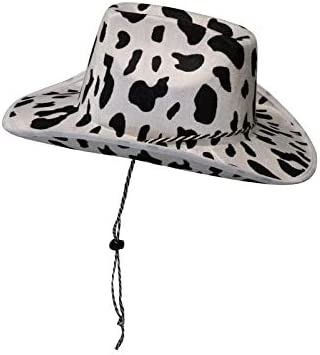 Cowboy Hat Fun Cow Print Hat Unisex Black and White Cowboy Hat 1 product image