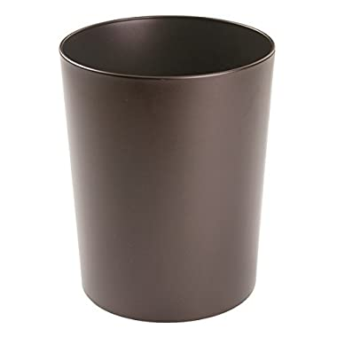 mDesign Round Metal Small Trash Can Wastebasket, Garbage Container Bin for Bathrooms, Powder Rooms, Kitchens, Home Offices - Durable Steel with Bronze Finish