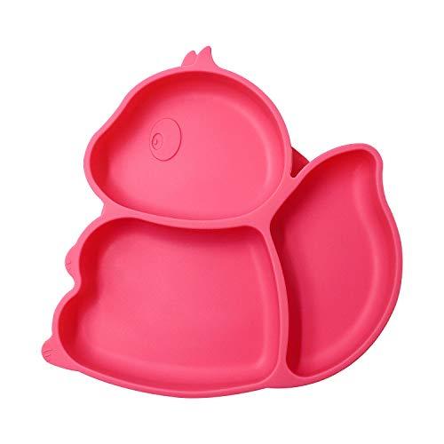 AWIIK – Plato de Silicona con fuerte Ventosa para Bebes y niños pequeños. Plato BLW antideslizante con succión. Plato infantil con ventosas antivuelco para tronas para aprender a comer BLW. (Pink)
