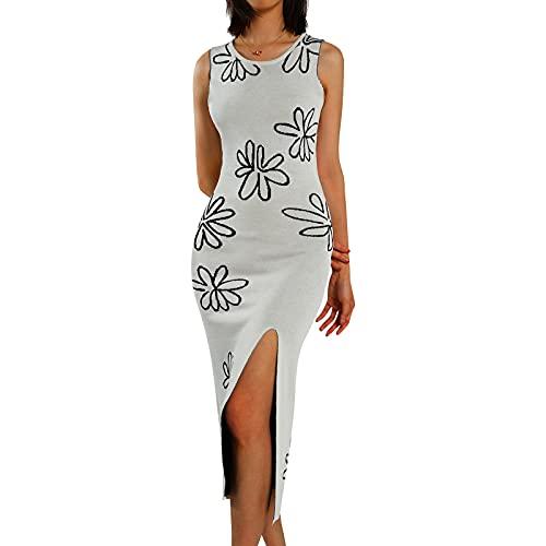 ChouZZ Vestido ajustado sin mangas para mujer con estampado floral de punto de costilla sin espalda, vestido midi Y2K sexy para fiesta de niñas