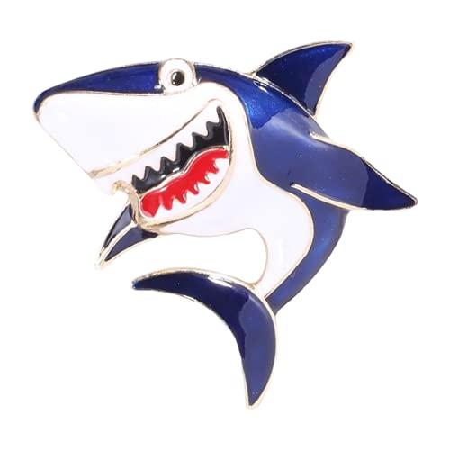 Broches De Pez De Tiburón Esmaltados Para Mujer, Broches Informales De Fiesta De Tiburón De Color Gris Y Azul De Metal Para Mujer, Color Azul