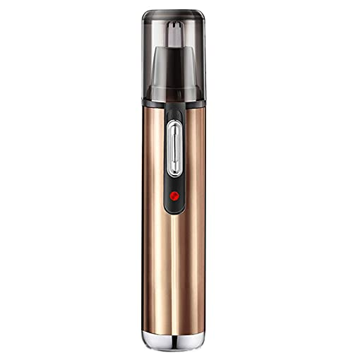 Ear and nose hair trimmer, men's nose hair trimmer, USB charging power supply, waterproof double-edged blade, easy to clean. (gold)