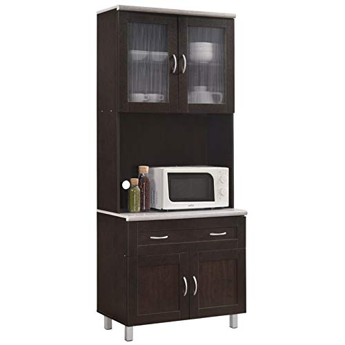 """Pemberly Row Tall 32"""" Wide China Kitchen Cabinet with Microwave Storage in Chocolate Gray"""