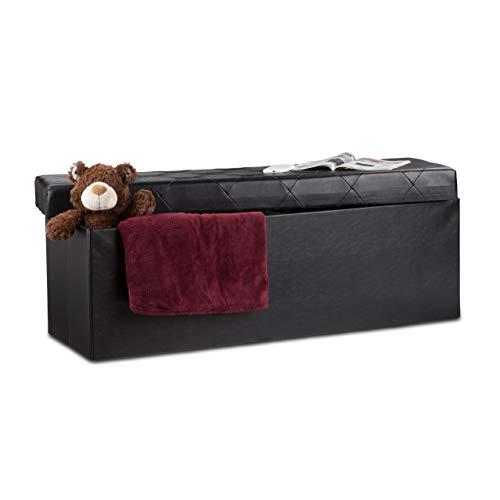 Relaxdays Tabouret de rangement similicuir pouf coffre banc rangement repose-pieds HxlxP: 38 x 114 x 38 cm, noir