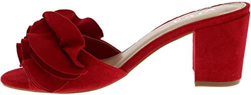 Women Bajo Tacón Medio Ante Flor Volante FCorrercido Ponerse Mula Sandalias Zapatos - Rojo KL0262D 5UK/38
