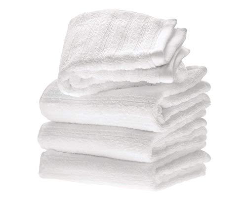 iDesign Ribbed Juego de 4 Manos, algodón pequeñas con diseño de Rayas, Set Suaves, Ideales como Toallas de Lavabo o para el Aseo de Invitados, Blanco, 71,1 cm x 40,6 cm x 0,3 cm, 4