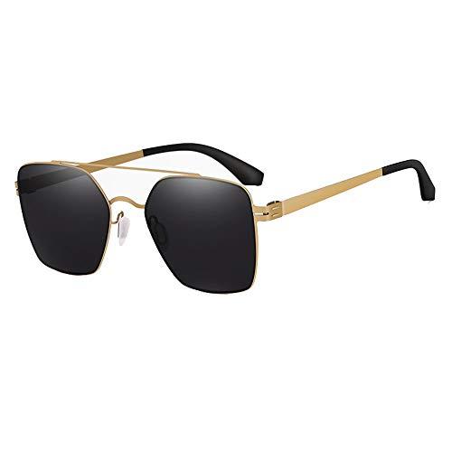 Faus Koco Gafas De Sol Cuadradas UV400 Gafas De Sol De Alta Definición Espejo Retrovisor De Conductor Femenino Espejo Ultra Ligero De Acero Inoxidable (Color : Black)