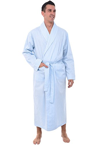 Alexander Del Rossa Mens Lightweight Cotton Robe, Small White and Blue Striped (A0715P16SM)