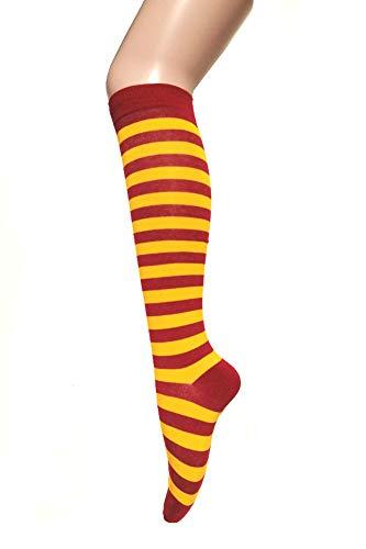 Triple M Plus Knee High Stripes Socks.Gold Yellow/Burgundy