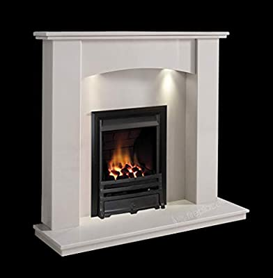 White Marble Stone Modern Curved Wall Surround Gas Fireplace Suite Black Inset Gas Fire with Spotlights