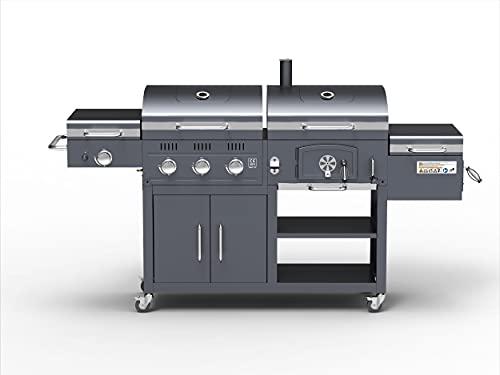 ACTIVA 4 in 1 Combo Grill - Holzkohle Grillwagen - 3 Brenner Gasgrill - Smoker - 800°C Steak Grill - Grill Station mit Unterschrank Holzkohle Gas Grill Kleiner Smoker 800 Grad Steakgrill