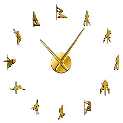 hufeng Reloj de Pared Pole Dance sin Marco 3D DIY Reloj de Pared Moderno Kit de Baile exótico Decoración con números de Espejo Pegatina Reloj Reloj de Regalo para niña