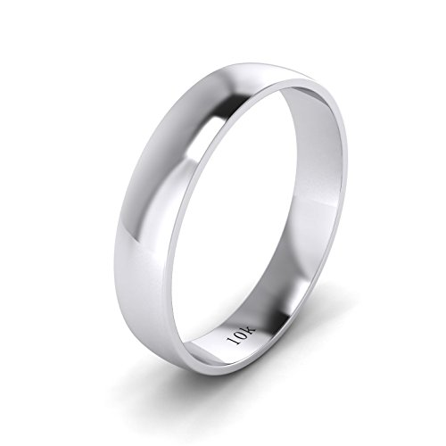 LANDA JEWEL Unisex Solid 10k White Gold 4mm Comfortable Traditional Highly Polished Wedding Ring Plain Band (4)