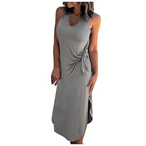 BHYDRY Damen Kleider Sommer Sexy Kleid Damen LäSsiges Temperament Einfarbig Runde Krawatte Krawatte Taille Slim-Fit äRmelloses Seitenschlitz Kleid Kleid Abendkleid