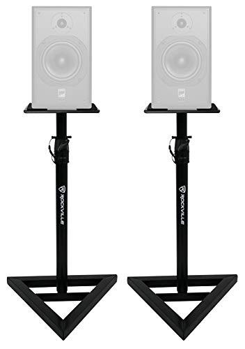 2) Rockville Adjustable Studio Monitor Speaker Stands For ATC SCM12 Pro Monitors