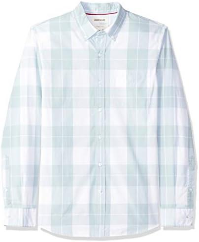 Goodthreads Men s Slim Fit Long Sleeve Plaid Poplin Shirt light blue plaid Medium product image