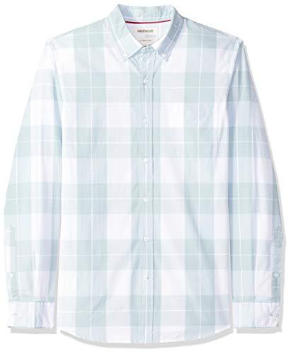 Amazon-Marke: Goodthreads Herrenhemd, langärmlig, schmale Passform, kariert, aus Popeline, mit Button-down-Kragen, Blau (Light Blue Plaid Lig), US M (EU M)