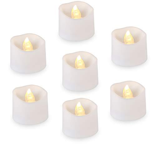 12 LED Kerzen, Anstore LED Tee Lichter Flammenlose Kerzen mit Timer, Flackern Teelichter, Elektrische Kerze Lichter für Hochzeit, Weihnachten, Ostern, Party, 3.2x3.6 cm [Plastik, Warmweiß]