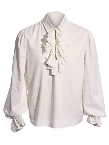 Mens Medieval Gothic Shirt Pirate Renaissance Costume Lace Cuff Ruffle Front Colonial Cosplay Tee Top