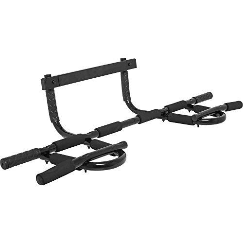 GORILLA SPORTS® Türreck Klimmzustange für Türrahmen Schwarz ohne Schrauben – bis 200 kg belastbar