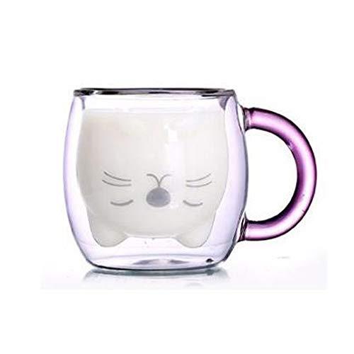 BigNoseDeer Taza de café Aislamiento de Doble Pared Vaso de Vasos Animal Lindo Té Leche Tazas Regalo Original para Navidad el Dia de Acción de Gracias Amigos (con asa)