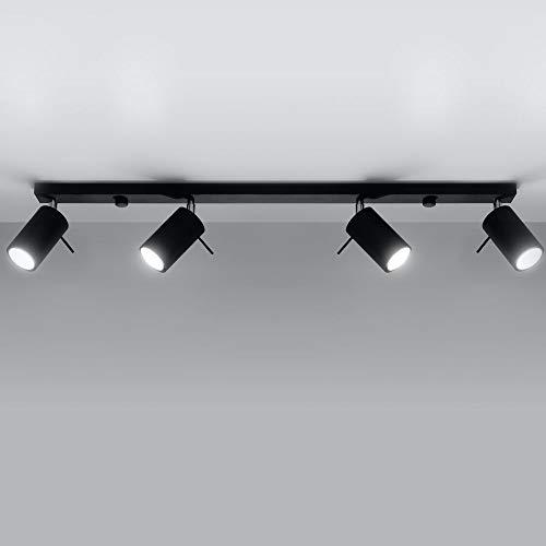 famlights Angelina Deckenspot Stahl in Schwarz, 4-flammig, GU10, 81 cm | Deckenleuchte modern Wohnzimmer-Lampe Deckenstrahler Deckenlampe edel Schlafzimmer-Leuchte Flur Esszimmer-Lampe | 4 Strahler