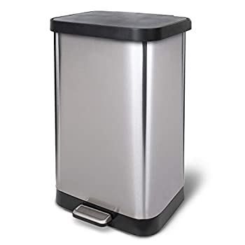 Glad Stainless Steel Step Trash Can with Clorox Odor Protection   Large Metal Kitchen Garbage Bin with Soft Close Lid Foot Pedal and Waste Bag Roll Holder 20 Gallon Stainless