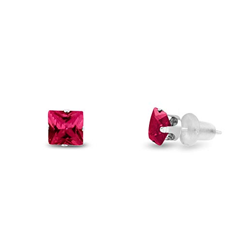 Lab Created 3x3mm Square Princess Cut Red Ruby Solid 10K White Gold 4-Prong Set Baby Stud Earrings