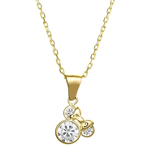 """Disney Minnie Mouse Jewelry for Women, 14k Yellow Gold Cubic Zirconia Pendant Necklace, 18"""" Chain"""
